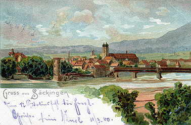 Greetings from Säckingen, dated 11/03/1900